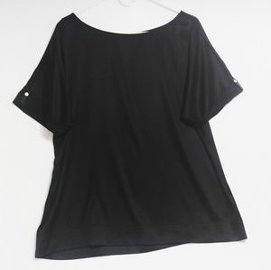 WHBM Black silk stretch blouse oversized fit